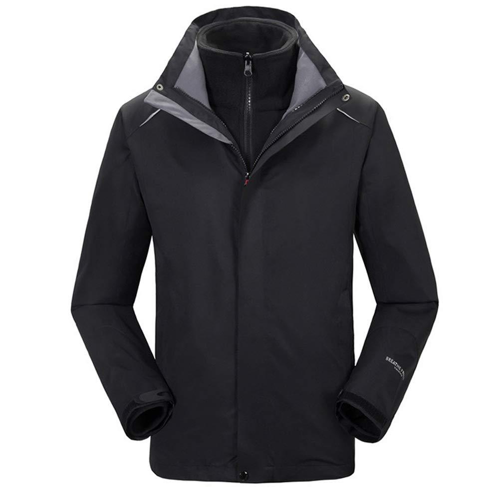 スキーウェア スノーボード 男性の防風フード付きインナー暖かいフリースコート屋外用冬ジャケット3-in-1 2-piece (色 : ブラック, サイズ : L) ブラック Large