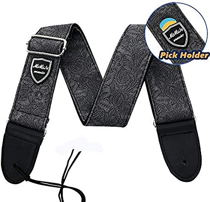 MIMIDI Brown Guitar Strap Vintage Brown Floral Pattern Adjustable Guitar Straps Electric 100/% Cotton Woven with Pick Holder /& Real Leather Ends Bass Guitar Strap Acoustic for Men Women Kids