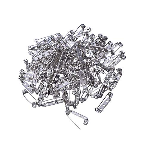 (Soohappy 100 Pieces Silver Tone Pin Back Clasp Brooch Name Badge Craft (1 Inch))