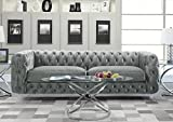 Iconic Home FSA2655-AN Modern Contemporary Tufted Velvet Down-Mix Cushons Acrylic Leg Sofa, Grey