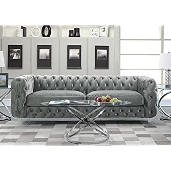 Iconic Home FSA2655 AN Modern Contemporary Tufted Velvet Down Mix Cushons  Acrylic Leg Sofa,