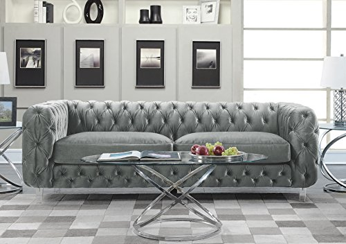 Iconic Home Modern Contemporary Tufted Velvet Down-Mix Cushons Acrylic Leg Sofa, Grey (Set Sofa Tufted)