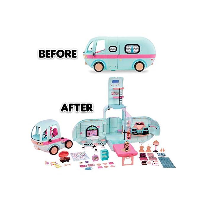 51UahUJwXBL Lol surprise glamper es el primer vehículo para tus muñecas y mascotas lol surprise La parte delantera del camión se convierte en un vehículo separado y la parte trasera se abre para una experiencia de vida glam al completo Incluye luces y sonidos que funcionan de verdad