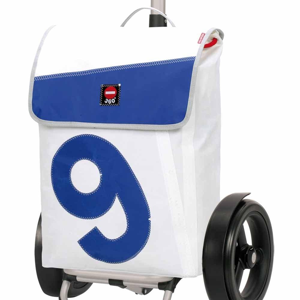 Klappgriff 360/° Grad Tasche Tura Shopper fahrbar wei/ßes Segel mit Blauer Zahl