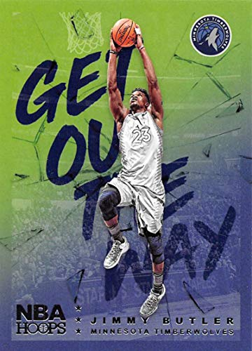 (2018-19 NBA Hoops Get Out The Way Retail Insert #13 Jimmy Butler Minnesota Timberwolves Official Panini Basketball Card)
