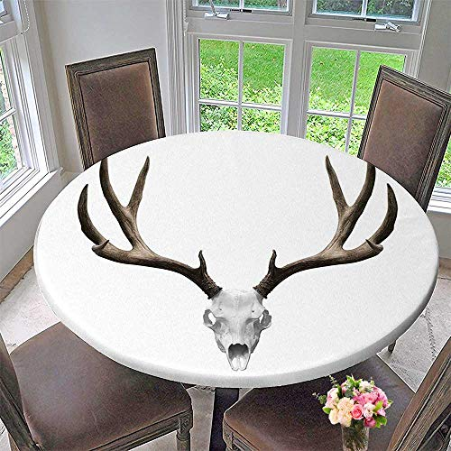 Mikihome Circular Table Cover A Deer Skull Skeleton Head Bone Halloween Weathered Hunter Collection for Wedding/Banquet 35.5