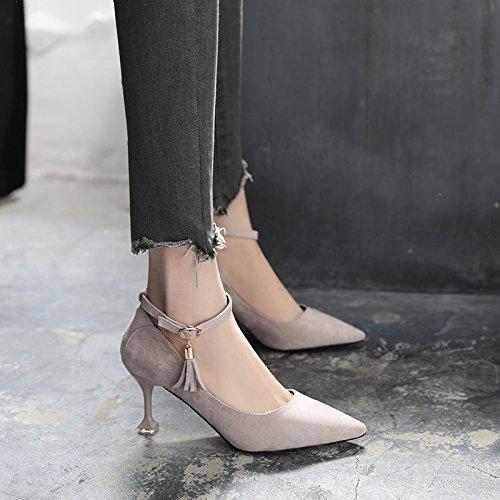 GAOLIM Los Zapatos De Tacón Alto En La Primavera De Punta Fina Con Corbata Ranurada-Su Única Hembra Zapatos Verano Gris claro