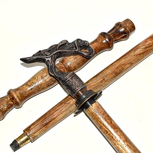 (Antique Nautical Brass Walking Stick Custom Hand carved Horse Dragon Wood)