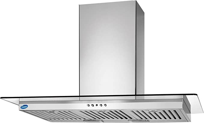 Glen 60cm 1000 m3/hr Chimney (6062 SS BF-LTW, 3 Baffle Filters, Steel/Grey)