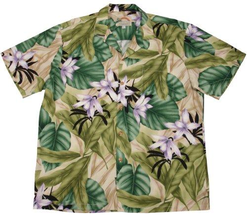 Orchid Jungle Shirt Green M (Island Paradise Hawaiian Shirt)
