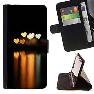 BullDog Case - FOR/Samsung Galaxy Note 4 IV / - / Bokeh Lights Hearts /- Monedero de cuero de la PU Llevar cubierta de la caja con el ID Credit Card Slots Flip funda de cuer