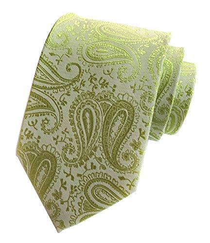 Elfeves Men GREEN Woven Silk Ties Handmade Party Dress Self Neckties Extra long (Chain Silk Necktie)