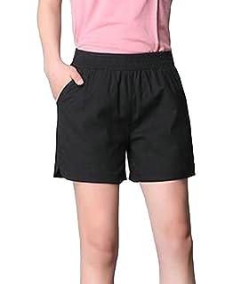 787eb54b9c Pandapang Women's Elastic Waist Linen Casual Summer Beach Cotton Straight  Leg Short