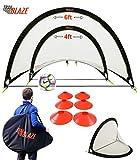 Trailblaze Pop Up Soccer Goals for Backyard - 2 Portable Soccer Nets for Backyard, 8 Disc Cones + Carry Case - Ideal Soccer Equipment for Training