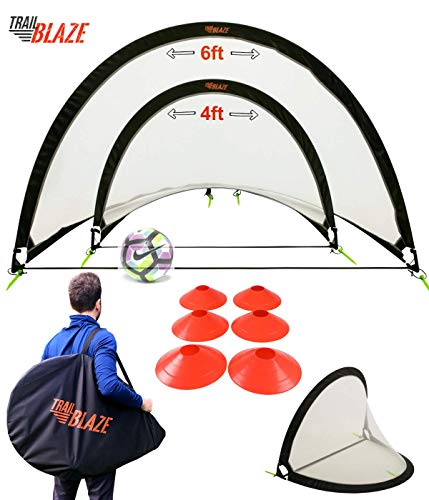 Trailblaze Pop Up Soccer Goals for Backyard - 2 Portable Soccer Nets for Backyard, 8 Disc Cones + Carry Case - Ideal Soccer Equipment for Training