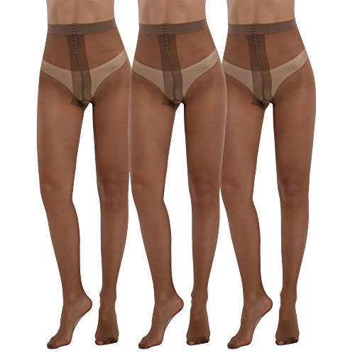 Womens Sheer Pantyhose Plus Size Tights 3packs 20 Denier Sheer to Waist T Crotch Nylons