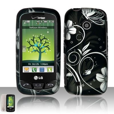 - Black Silver Flower Vine Butterfly Rubberized Snap on Hard Shell Cover Protector Faceplate Cell Phone Case for Verizon LG Cosmos Touch VN270, LG Attune MN270, LG Beacon + LCD Screen Guard Film + LCD Screen Guard Film (Free Wrist Band)