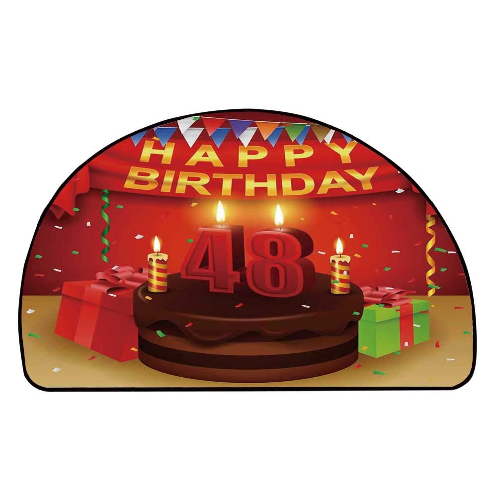 C COABALLA 48th Birthday Decorations Comfortable Semicircle Mat,Presents Chocolate Cake with Candles Party Flag Artsy Print for Living Room,11.8'' H x 23.6'' L