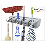 kitchen cabinet clamps - Mop and Broom Holder and Garden Tool Organizer, JIAXIN Multipurpose Wall Closet Mounted 4 Ball Slots with 5 hooks Storage Rack no Sliding Ideal Broom Hanger for Kitchen Garden Garage pantry