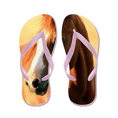 CafePress Horse,1 Portrait - Flip Flops, Funny Thong Sandals, Beach Sandals Pink
