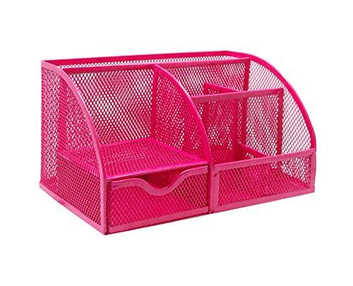 Pink Dispenser (EXERZ EX348 Mesh Desk Organizer / Desk Tidy / Pen Holder / Multifunctional Organizer - (Pink / Fuschia))