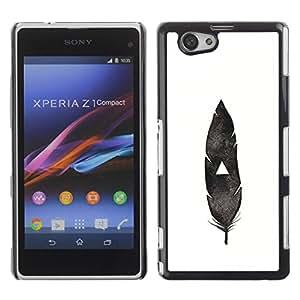 PC/Aluminum Funda Carcasa protectora para Sony Xperia Z1 Compact D5503 feather Indian native black white deep / JUSTGO PHONE PROTECTOR