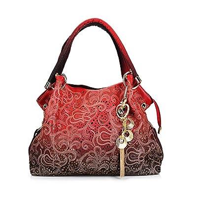 WINK KANGAROO Women Handbag Top-handle Tote Shoulder Fashion Sequins PU Leather Bag Purse (01 red)