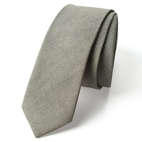 Neckties Sage - Spring Notion Men's Solid Color Chambray Cotton Skinny Tie, Sage