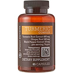 Amazon Elements Turmeric Complex with Black Pepper and Ginger, Curcumin Supplement, 65 Capsules