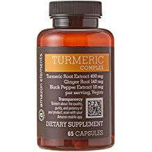 Amazon Elements Turmeric Complex with Black Pepper and Ginger, Curcumin Supplement, 65 Capsules, 2 month supply