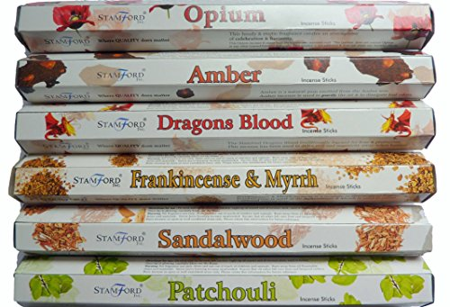 Stamford Premium Hex Range Incense Sticks - Opium, Amber, Dragons Blood,...