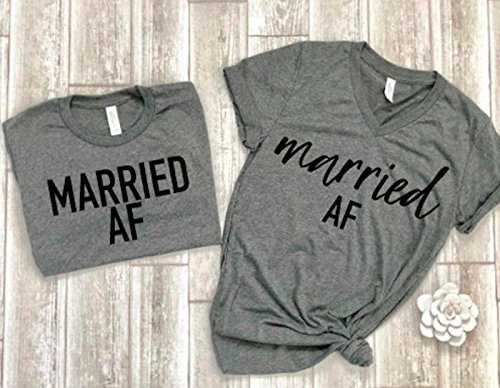 205a8b19d2 Amazon.com: married af tees couple shirts matching couple tees just married  t-shirts bridal shower gift idea wedding gift bride tee groom tee honeymoon  ...