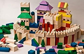 Spielzeug 500 Stück Holzbausteine Buchenholz Bauklötze Holzklötze Holzspielzeug Bunt Neu