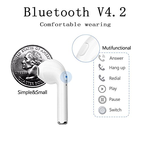 Wireless Earphone,Bluetooth Earbuds/Stereo-Ear Sweatproof Earphones with Noise Cancelling and Charging Case Fit for iPhone X/8/7/7 Plus/6S/6S Plus and Samsung Galaxy S7/S8/S8 Plus by Zsjijia (Image #3)