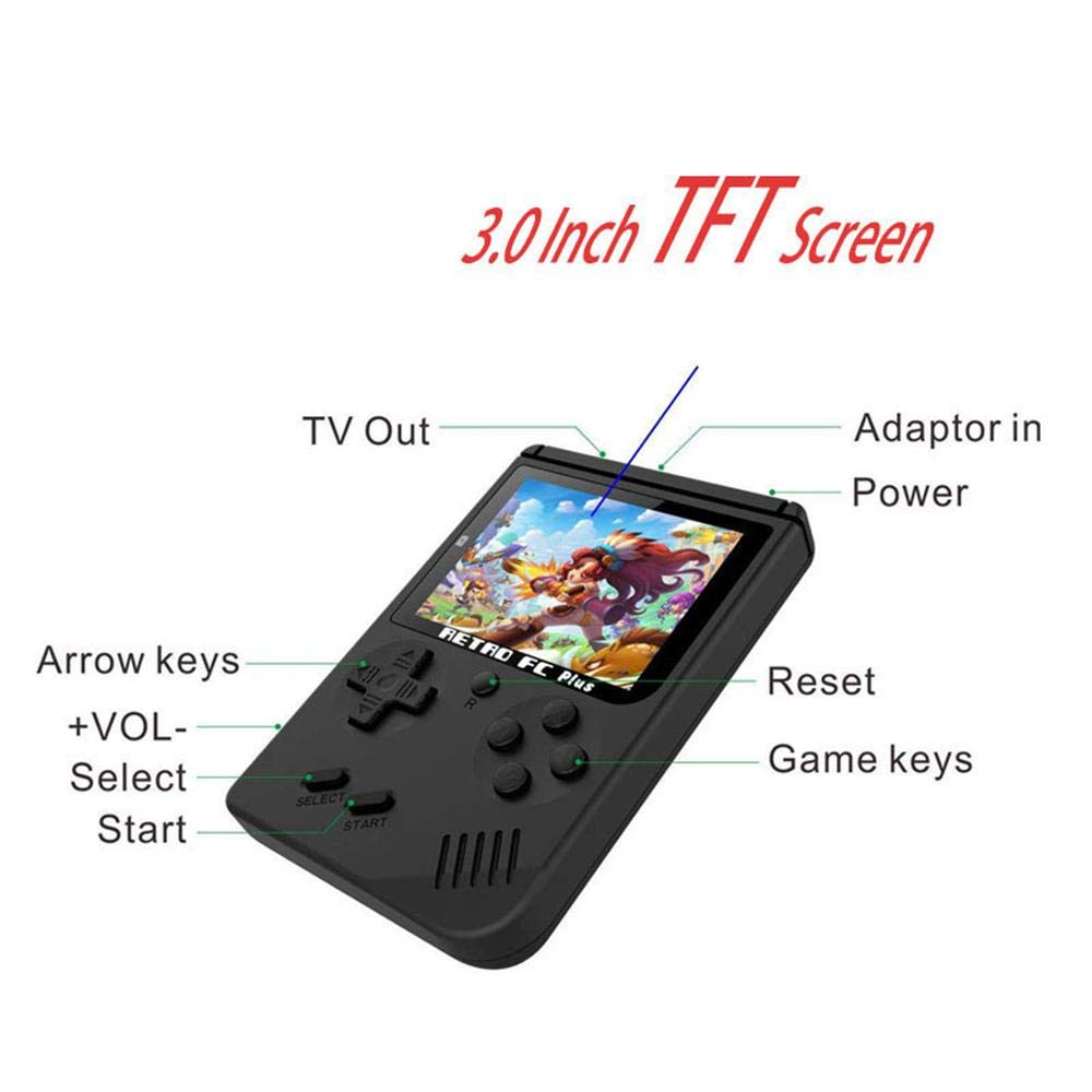 Handheld Game Console For Kids,Womdee 168 Classic Games 3 Inch LCD Screen Portable Retro Video Game Console,TV Output Mini Pocket Handheld Game Player,Birthday Gifts For Kid And Adult Nostalgic Player by Womdee (Image #3)