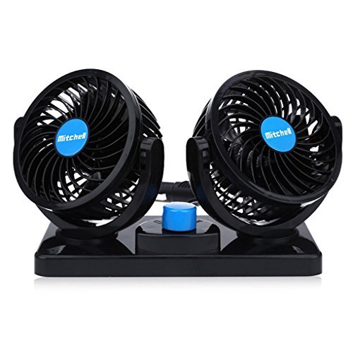 (12V Car Fan Dual Head Electric Auto Cooling Fan Two Speeds Adjustable with Cigarette Lighter Plug In 360 Degree Manual Rotation for Trucks or Car.)