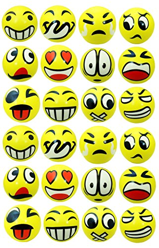 24 Emoji Foam Stress Ball - Squeeze Relief Novelty (Style Foam Stress Ball)