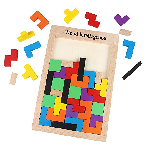 aPerfectLife Wooden Tetris Puzzle Toy Brain Games Tetris Teaser for Kid, Wood Burr Tangram Jigsaw Toy Educational Toys Games (40 Pieces)