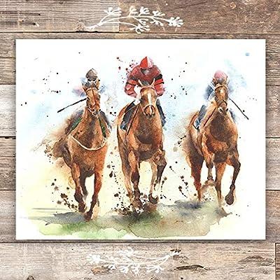 Horse Racing Wall Art Print - Unframed - 8x10   Horse Decor