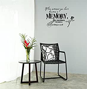 Decal Wall Sticker : When Someone You Love Becomes A Memory, The Memory Becomes A Treasure Lettering Life Quote Bedroom Living Room Home Decor Picture Art Size :14 Inches x 28 Inches