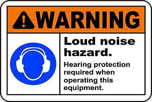 INDIGOS UG - Sticker - Safety - Warning - Hearing Protection Required Sign 177mmx127 - Decal for Office - Company - School - Hotel