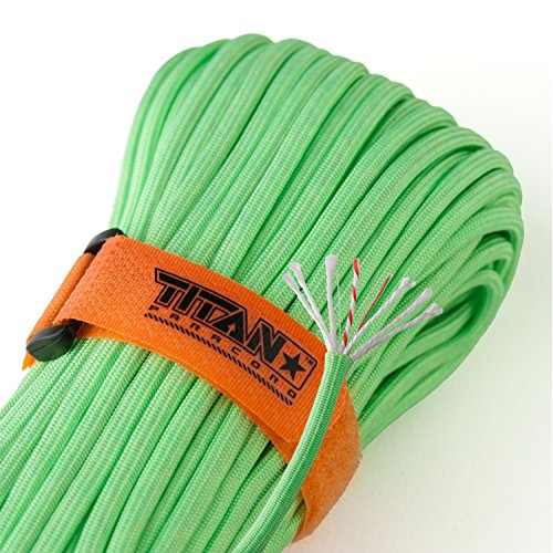 Titan SurvivorCord | Zombie-Green | 103 Feet | Patented Military Type III 550 Paracord/Parachute Cord (3/16 Diameter) with Integrated Fishing Line, Fire-Starter, and Snare Wire.