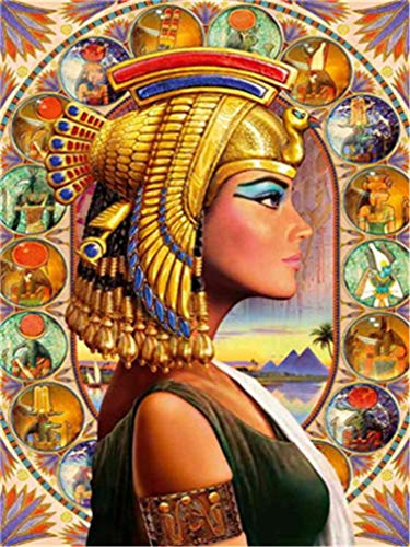 YEESAM ART DIY Paint by Numbers for Adults Beginner Kids, Egyptian Girl Queen 16x20 inch Linen Canvas Acrylic Stress Less Number Painting Gifts (Girl, Without Frame) -