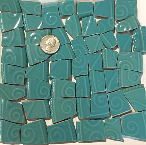 (Mosaic Art & Crafts Supply ~ Turquoise Stoneware Textured Rim Tiles (B544))
