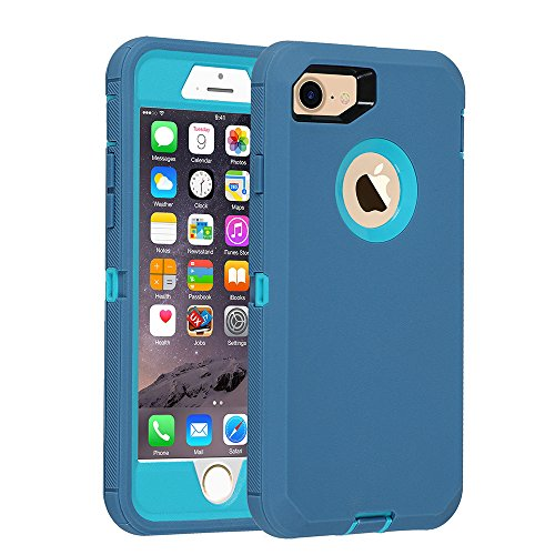 iPhone 7/8 case, [Heavy Duty] Armor 3 in 1 Built-in Screen Protector Rugged Cover Dust-Proof Shockproof Drop-Proof Scratch-Resistant Tough Shell for Apple iPhone 7/8 4.7 inch(Blue)