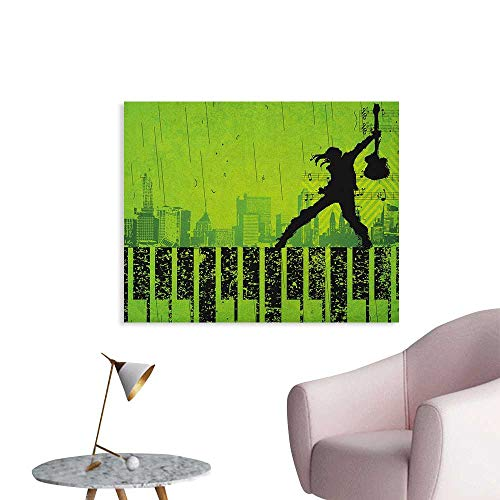 (Anzhutwelve Popstar Party Wall Paper Music in The City Theme Singer with Electric Guitar on Grunge Backdrop Space Poster Lime Green Black W28)