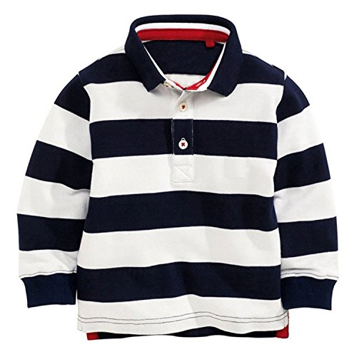 Soda Park Boys Long Sleeve Navy And White Striped Polo (Navy Striped Polo)