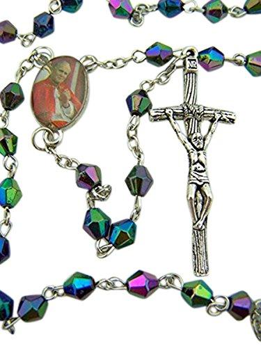 - Black Acrylic Prayer Bead Rosary with Saint Pope John Paul II Center and Papal Crucifix, 19 Inch