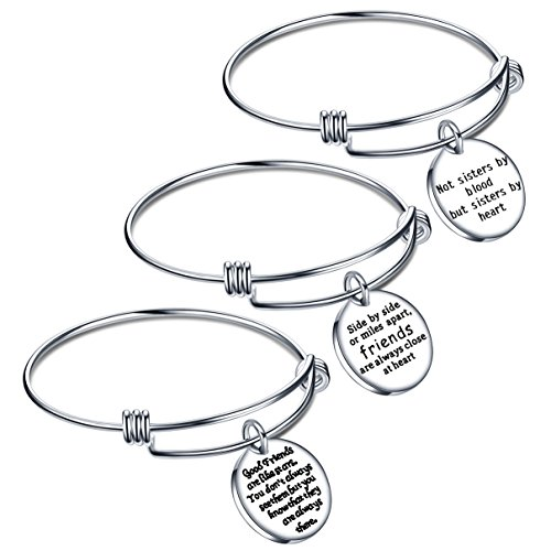 lauhonmin Best Friend Gift Expendable Inspirational Bangle Bracelets Birthday Graduation Gifts Pack of 3 Mens 3 Piece Gift