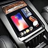 Fast Wireless Car Charger Mount for Tesla Model S/Model X, Center Console Organizer Storage Box Holder with Qi Wireless Car Charger for Samsung S10 S9 S7 S8 S6, iphone 8 iphone xr xs